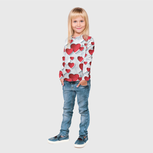 Детский лонгслив 3D  Фото 04, Сердца