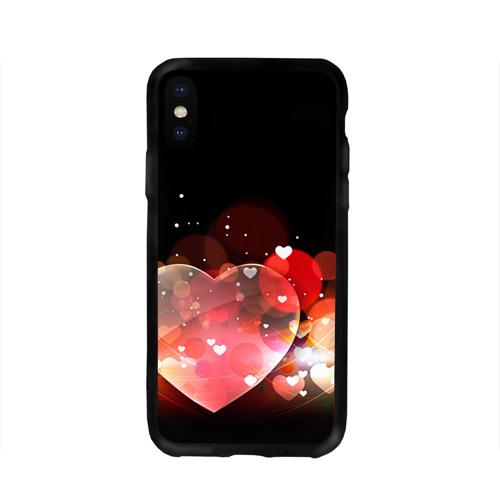Чехол для Apple iPhone X силиконовый глянцевый  Фото 01, Сердца