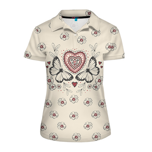 Женская рубашка поло 3D Бабочки