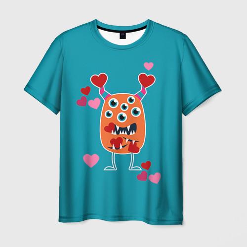 Мужская футболка 3D  Фото 03, Многоглазик с сердечками