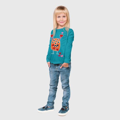 Детский лонгслив 3D  Фото 03, Многоглазик с сердечками