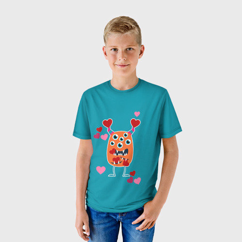 Детская футболка 3D Многоглазик с сердечками