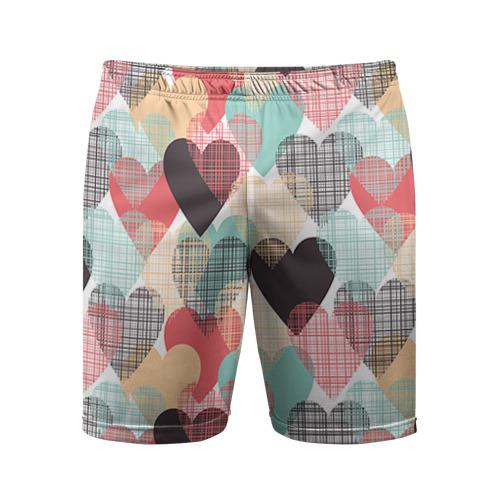 Мужские шорты 3D спортивные Сердечки