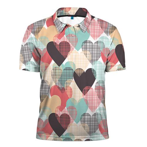 Мужская рубашка поло 3D Сердечки