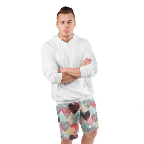 Мужские шорты 3D спортивные Сердечки Фото 01
