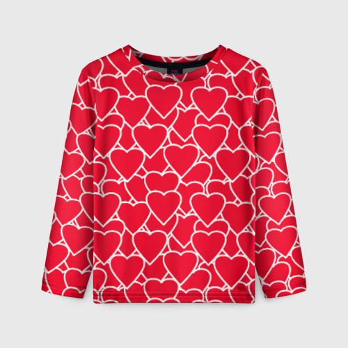 Детский лонгслив 3D Сердца