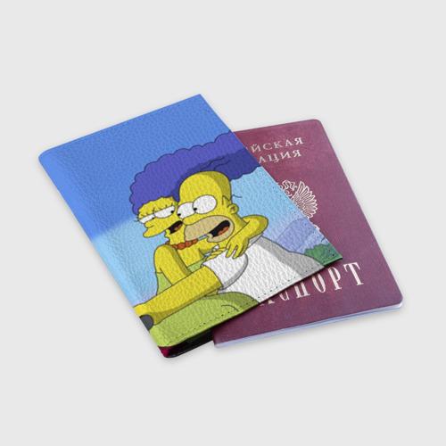 Обложка для паспорта матовая кожа  Фото 03, Гомер и Мардж