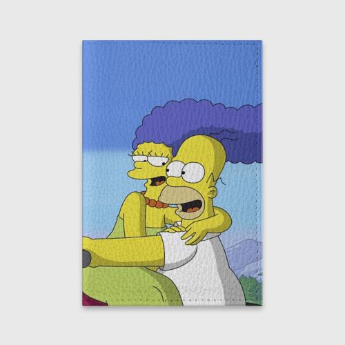 Обложка для паспорта матовая кожа  Фото 01, Гомер и Мардж