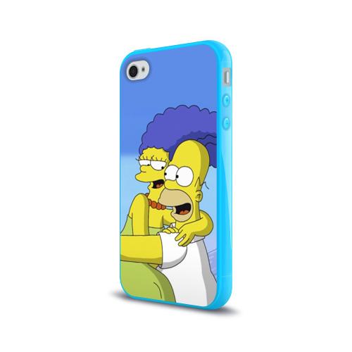 Чехол для Apple iPhone 4/4S силиконовый глянцевый Гомер и Мардж Фото 01