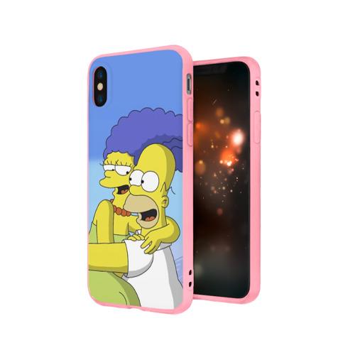 Чехол для Apple iPhone X силиконовый матовый Гомер и Мардж Фото 01