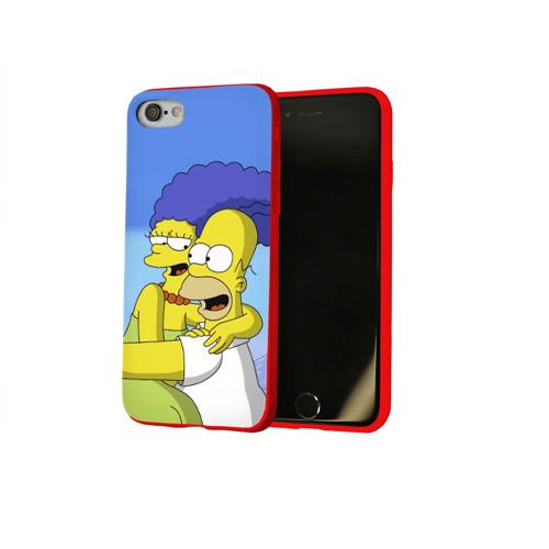 Чехол для Apple iPhone 8 силиконовый глянцевый Гомер и Мардж Фото 01