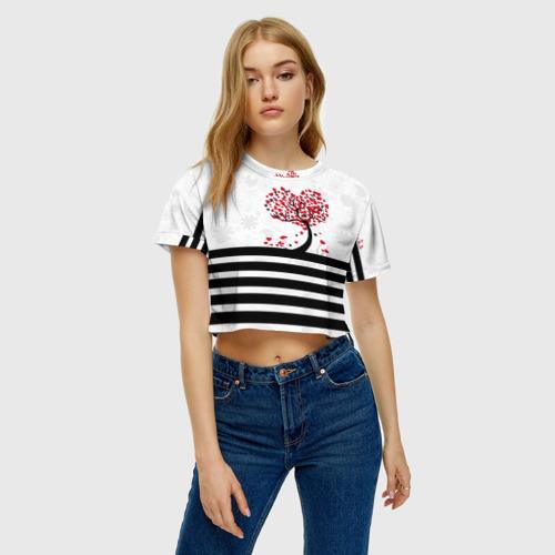 Женская футболка Crop-top 3D Сердца Фото 01