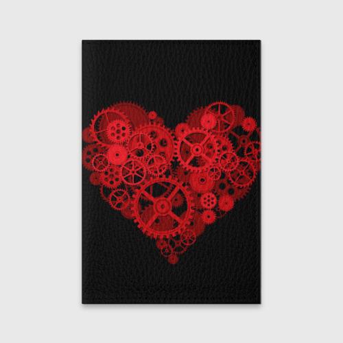 Обложка для паспорта матовая кожа Механическое сердце Фото 01