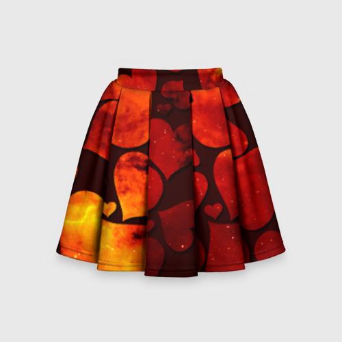 Детская юбка-солнце 3D Космические сердечки