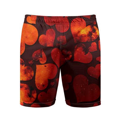 Мужские шорты 3D спортивные Космические сердечки