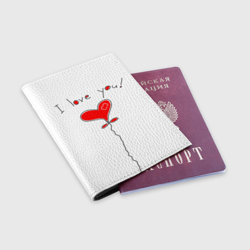 Обложка для паспорта матовая кожа Я тебя люблю Фото 01