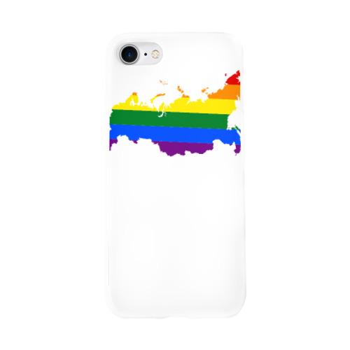 Чехол для Apple iPhone 8 силиконовый глянцевый  Фото 01, Радуга