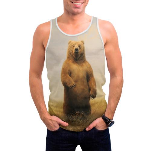 Мужская майка 3D  Фото 03, Медведь в поле