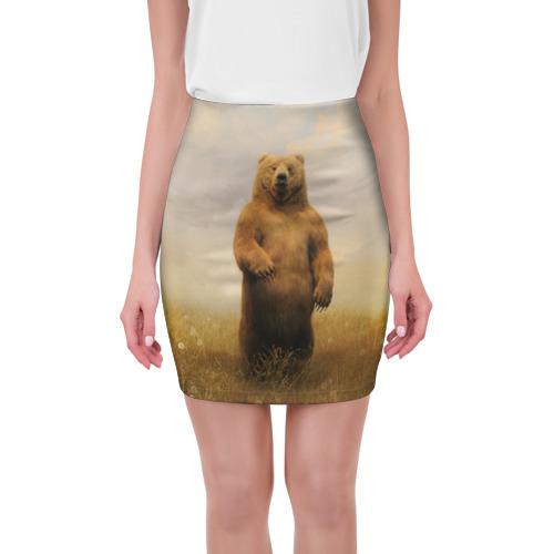 Мини-юбка 3D Медведь в поле от Всемайки