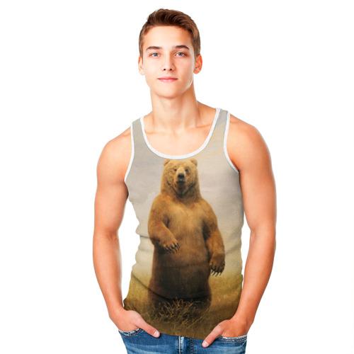 Мужская майка 3D  Фото 05, Медведь в поле
