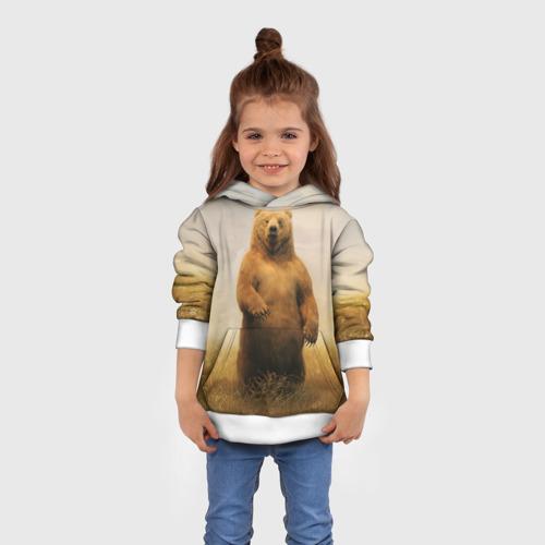 Детская толстовка 3D  Фото 01, Медведь в поле
