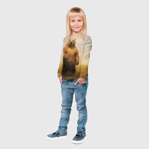Детский лонгслив 3D  Фото 04, Медведь в поле