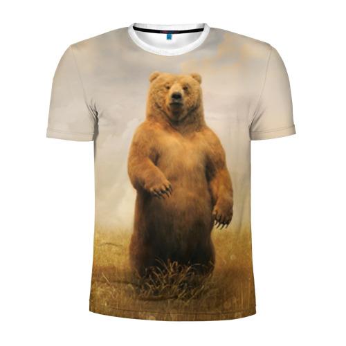 Мужская футболка 3D спортивная  Фото 01, Медведь в поле