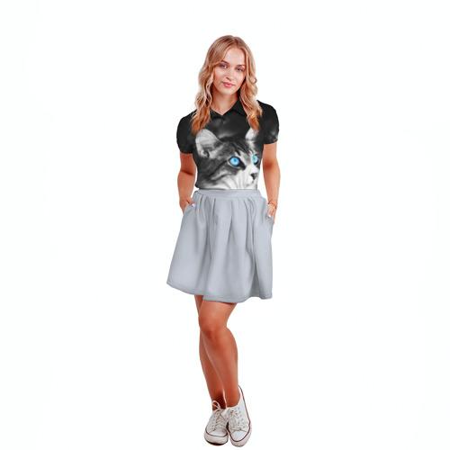 Женская рубашка поло 3D Кот Фото 01