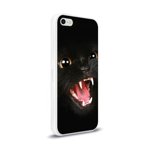 Чехол для Apple iPhone 5/5S силиконовый глянцевый  Фото 02, Черный кот
