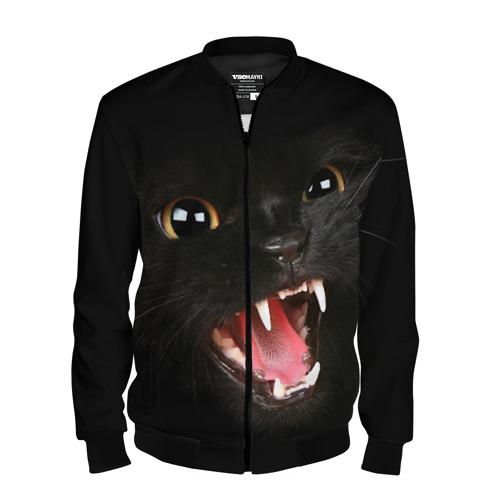Мужской бомбер 3D Черный кот