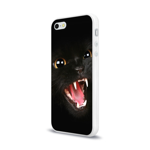 Чехол для Apple iPhone 5/5S силиконовый глянцевый  Фото 03, Черный кот