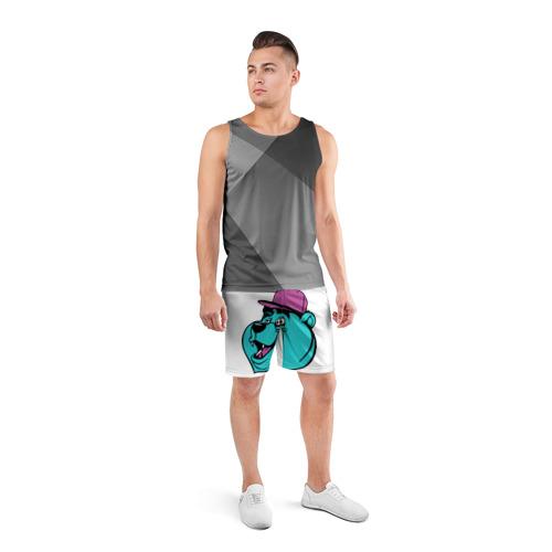 Мужские шорты 3D спортивные  Фото 04, Мишка в кепке