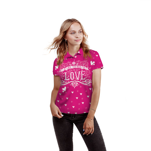 Женская рубашка поло 3D  Фото 03, All you need love