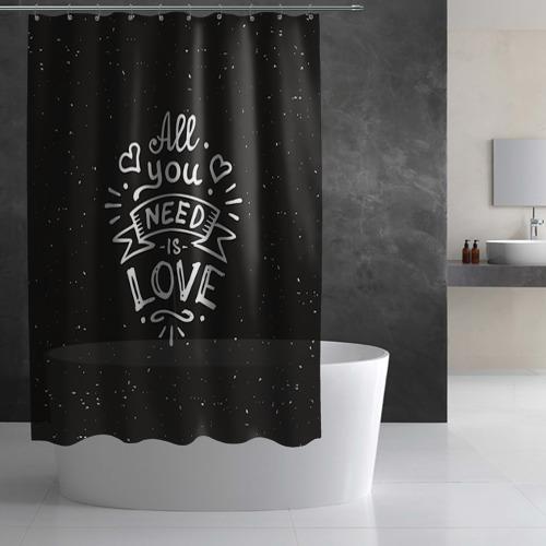 Штора 3D для ванной Любовь надпись Фото 01