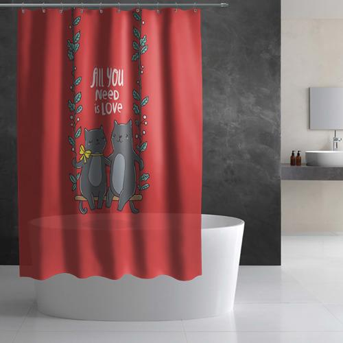 Штора 3D для ванной Кисули Love Фото 01