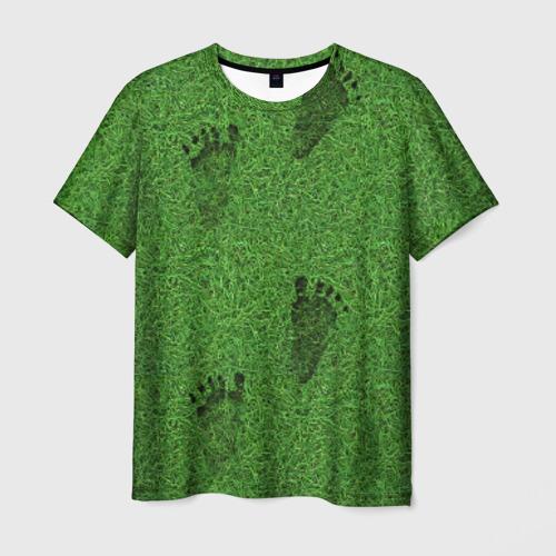 Мужская футболка 3D  Фото 03, Следы на траве