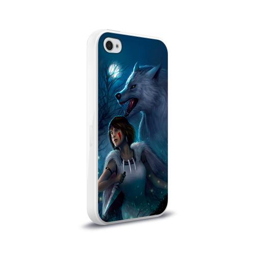 Чехол для Apple iPhone 4/4S силиконовый глянцевый  Фото 02, Мононоке с волком