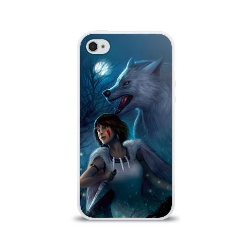 Чехол для Apple iPhone 4/4S силиконовый глянцевый  Фото 01, Мононоке с волком