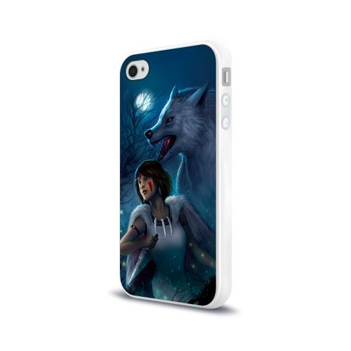 Чехол для Apple iPhone 4/4S силиконовый глянцевый  Фото 03, Мононоке с волком