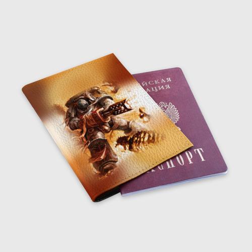 Обложка для паспорта матовая кожа  Фото 03, Серый рыцарь