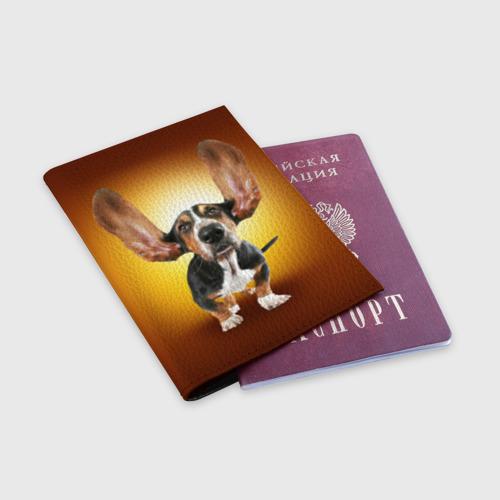 Обложка для паспорта матовая кожа  Фото 03, Бассетхаунд