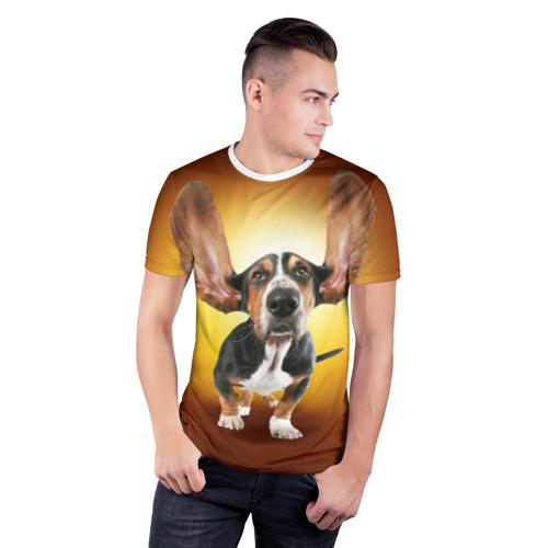 Мужская футболка 3D спортивная  Фото 03, Бассетхаунд