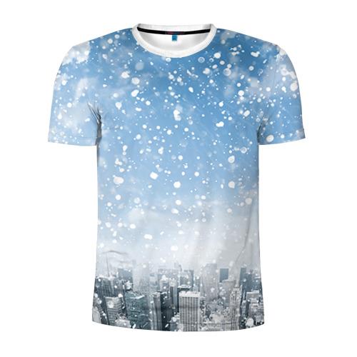 Мужская футболка 3D спортивная  Фото 01, Снежный город