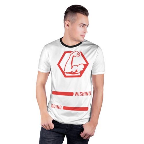 Мужская футболка 3D спортивная  Фото 03, Хватит мечтать, действуй