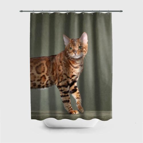 Штора для ванной Бенгальский кот от Всемайки
