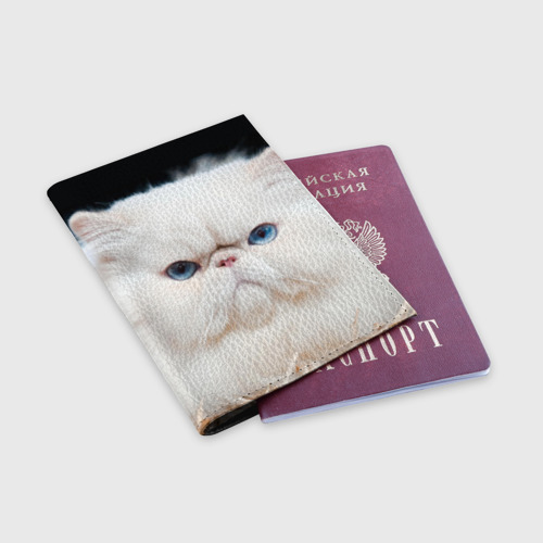 Обложка для паспорта матовая кожа  Фото 03, Персидский кот