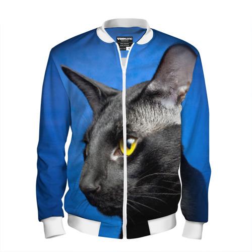 Мужской бомбер 3D  Фото 01, Черный кот