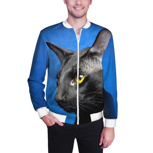 Мужской бомбер 3D  Фото 03, Черный кот