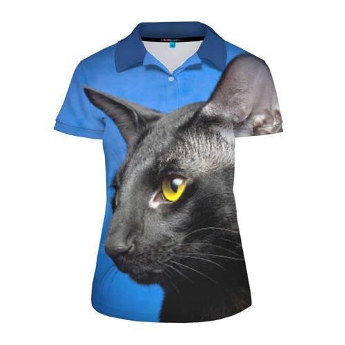 Женская рубашка поло 3D Черный кот