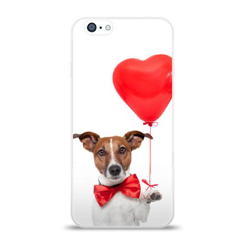 Чехол для Apple iPhone 6 силиконовый глянцевый  Фото 01, Собака с шариком